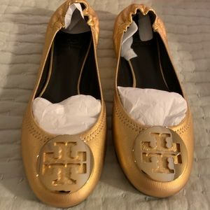 New Gold Tory Burch Distressed leather Reva Flats